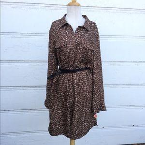 Gerard Darel Patterned Shirt Dress Size Large